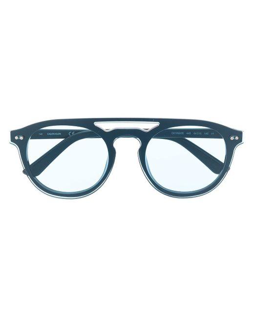 Calvin Klein Ck19500s ラウンドフレーム サングラス Blue