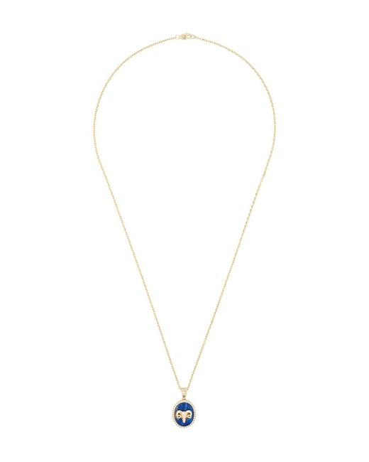 O Thongthai Multicolor Aries 14kt Yellow Gold Lapis Lazuli Diamond Necklace