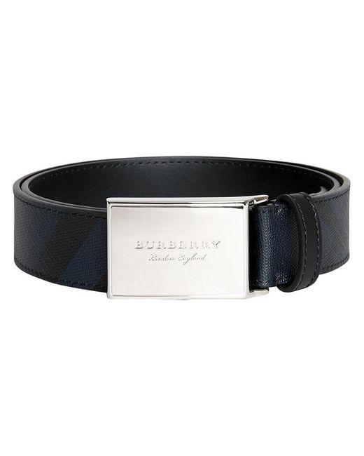 Burberry - Black Logo Plaque London Check Belt for Men - Lyst