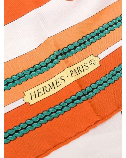 Платок Châteaux D'arrière 1990-х Годов С Принтом Pre-owned Hermès, цвет: Orange