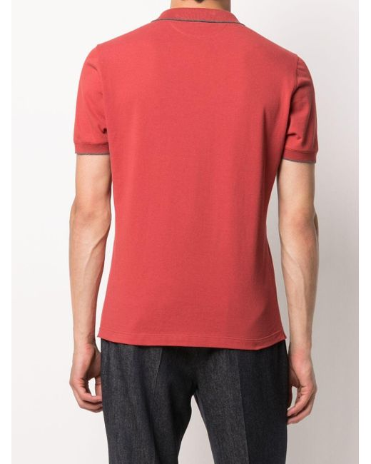 Рубашка Поло С Короткими Рукавами Brunello Cucinelli для него, цвет: Red