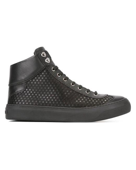 Jimmy Choo | Black Star Pattern Hi-top Sneakers for Men | Lyst