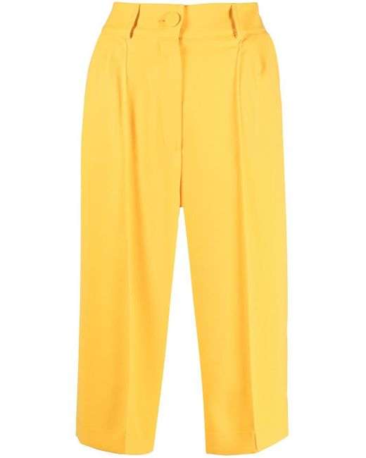 HEBE STUDIO Yellow Tailored Cropped Trousers
