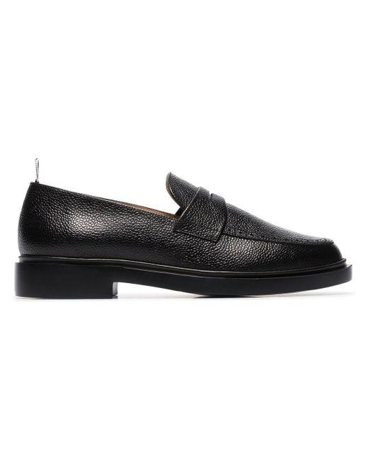 Thom Browne - Black Penny-Loafer aus gekörntem Leder for Men - Lyst