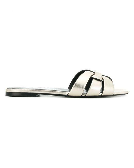 Saint Laurent - Metallic Flat Sole Woven Sandals - Lyst