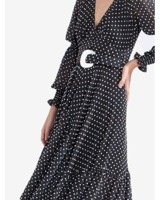 PATBO ポルカドット ベルテッド ドレス Black