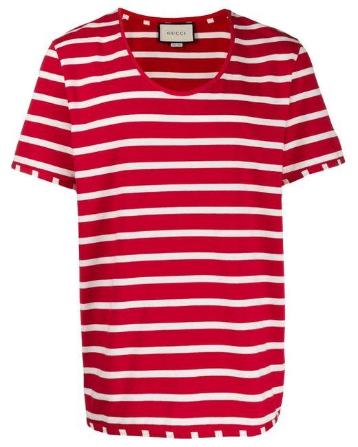 メンズ Gucci スクープネック Tシャツ Red