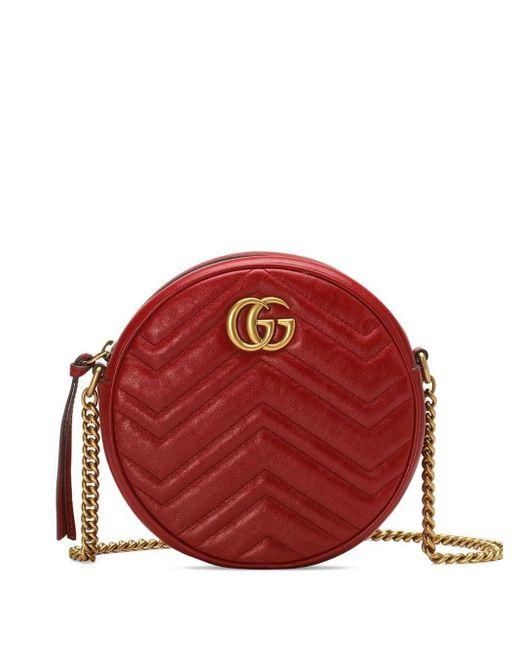 Gucci 【公式】 (グッチ)〔GGマーモント〕コインパースハイビスカスレッド レザーレッド Red