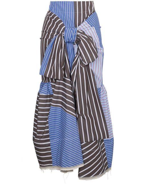 Юбка С Полоску С Завязкой Спереди Marni, цвет: Blue