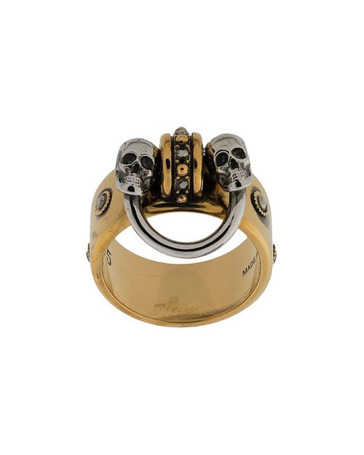 Кольцо С Декором Skull Alexander McQueen, цвет: Metallic
