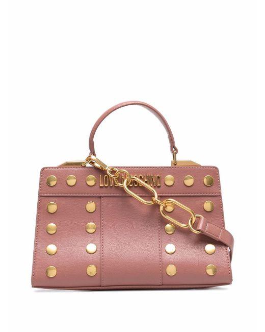 Love Moschino スタッズ ロゴ ハンドバッグ Pink