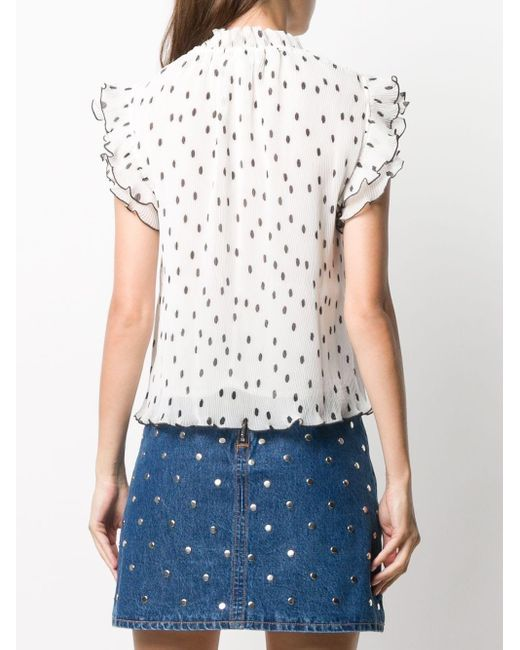 Блузка С Оборками И Плиссировкой Ganni, цвет: White