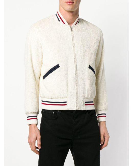 Куртка-бомбер С Отделкой Под Овчину Saint Laurent для него, цвет: White