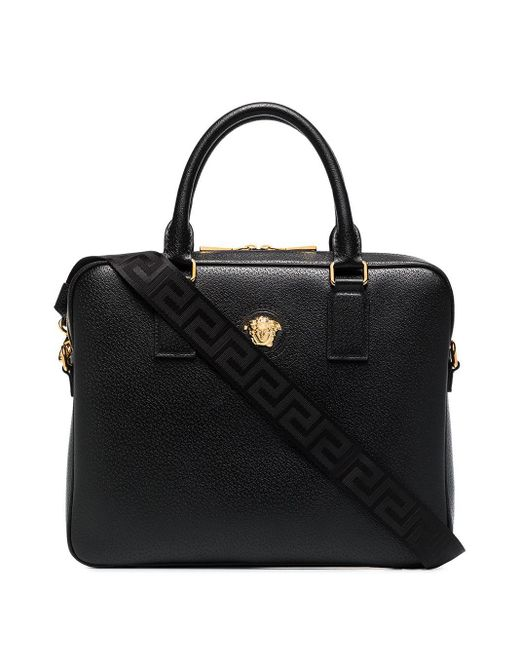 メンズ Versace メデューサ レザー Pcバッグ Black
