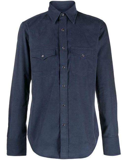Tom Ford Blue Corduroy Long-sleeve Shirt for men