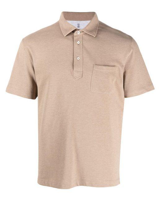 メンズ Brunello Cucinelli チェストポケット ポロシャツ Natural