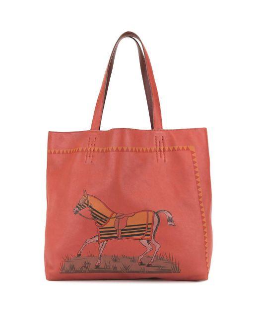 Двухсторонняя Сумка-тоут Double Sens 36 Pre-owned Hermès, цвет: Red