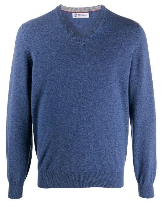 メンズ Brunello Cucinelli Vネック カシミアセーター Blue