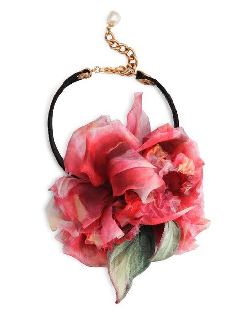 Collier ras-du-cou à fleurs Dolce & Gabbana en coloris Black