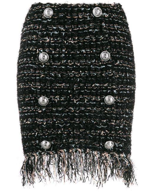 Balmain ボタン ツイードスカート Black