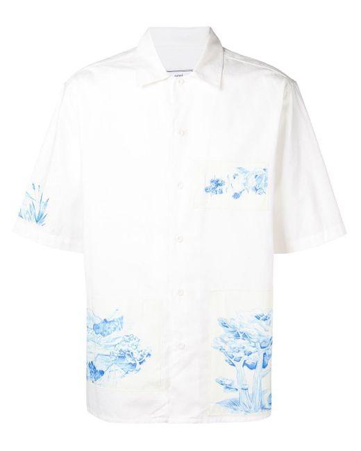 メンズ AMI ショートスリーブ パッチ シャツ White
