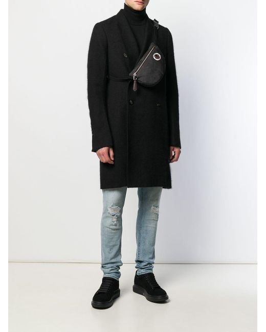 メンズ Alexander McQueen スカルプリント ベルトバッグ Black