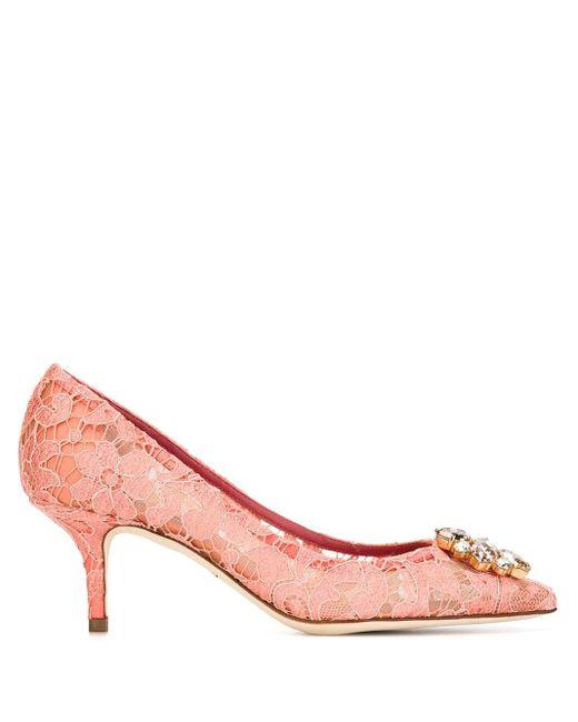 Dolce & Gabbana Pink Kristallverzierte Pumps Aus Schnurgebundener Spitze