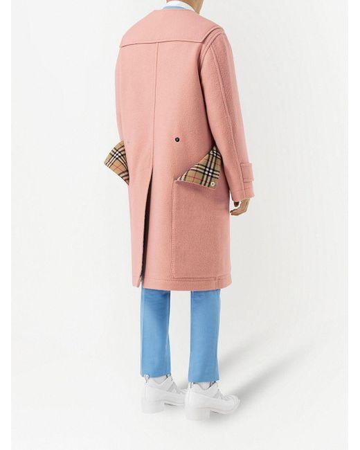 メンズ Burberry ヴィンテージチェック ダッフルコート Pink