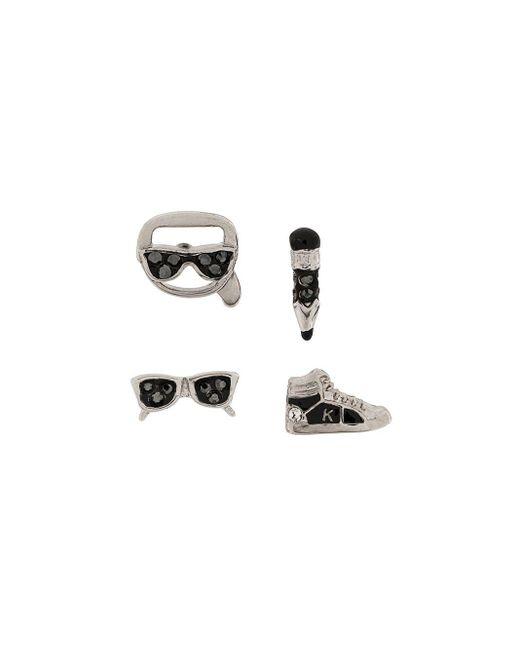 Karl Lagerfeld チャーム スタッズピアス Metallic