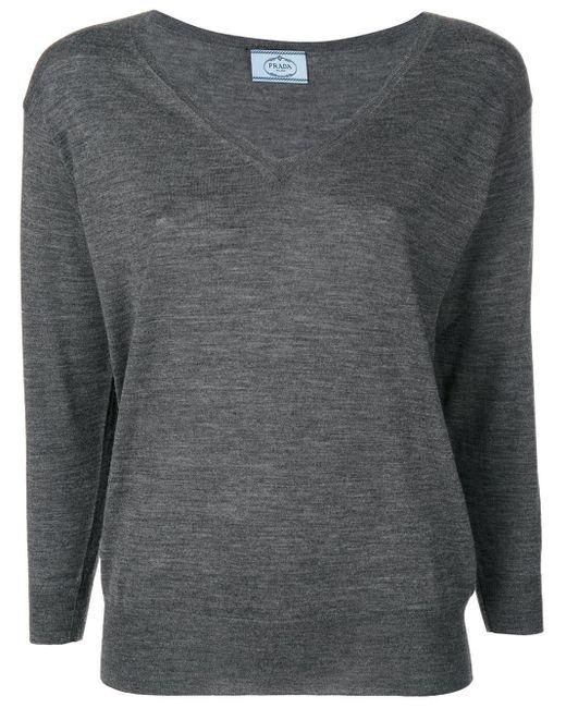 Pull à col v Prada en coloris Gray