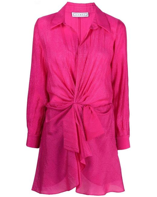 In the mood for love Pink Tie Fastening Shirt Dress