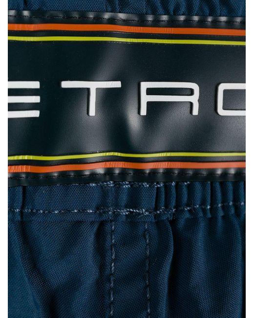 メンズ Etro ロゴ トランクス水着 Blue