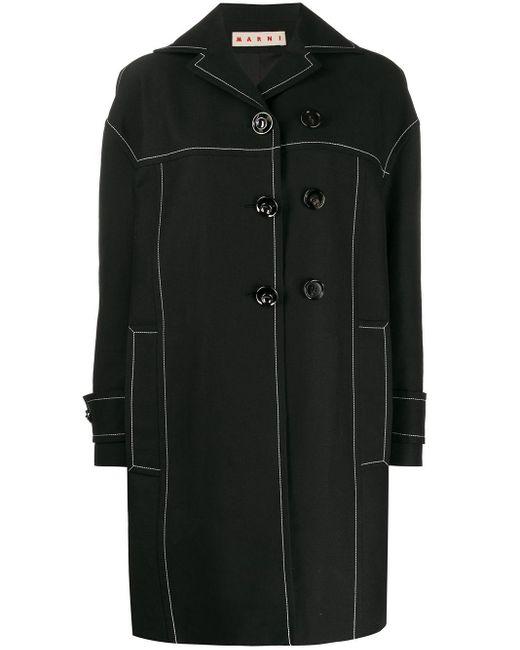 Marni コントラストステッチ コート Black