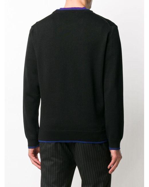 メンズ KENZO コントラストトリム セーター Black