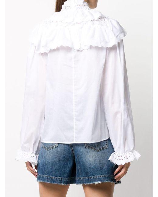 Dolce & Gabbana アイレットレース ブラウス White