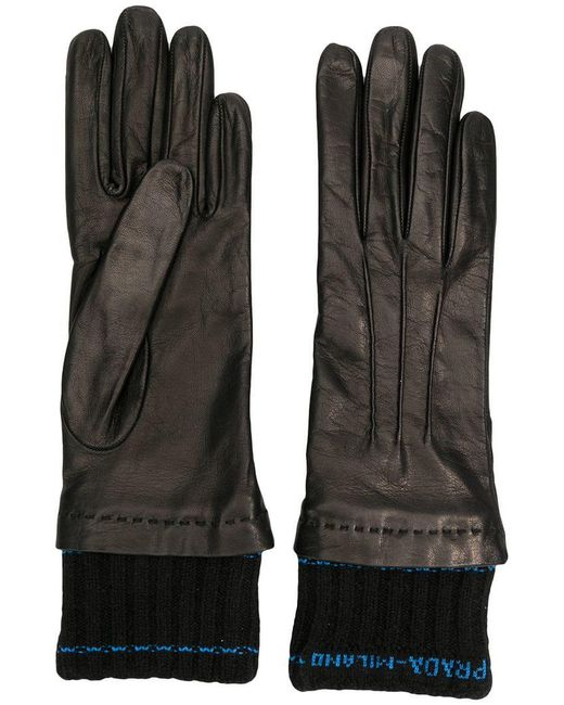Prada - Black Logo Fitted Gloves - Lyst