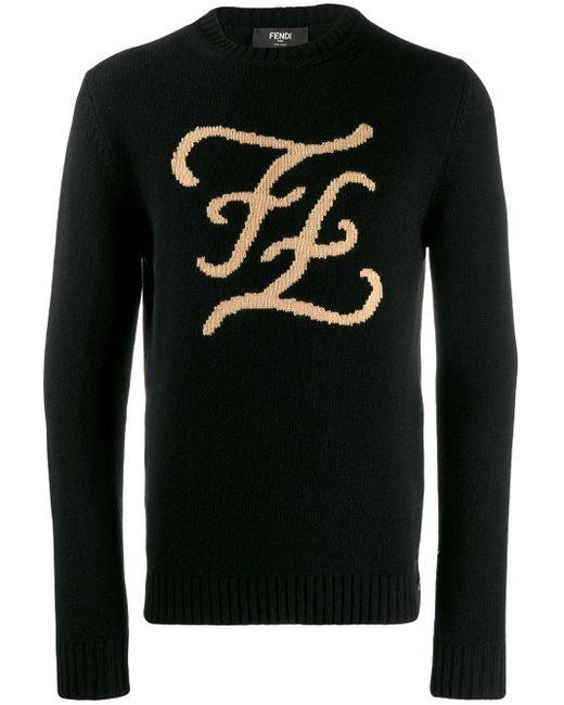 メンズ Fendi Ff Karligraphy セーター Black