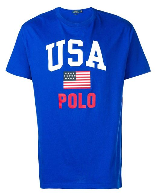 メンズ Polo Ralph Lauren Usa プリント Tシャツ Blue