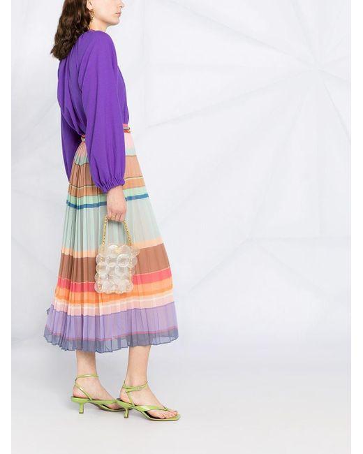 Zimmermann カラーブロック プリーツスカート Purple