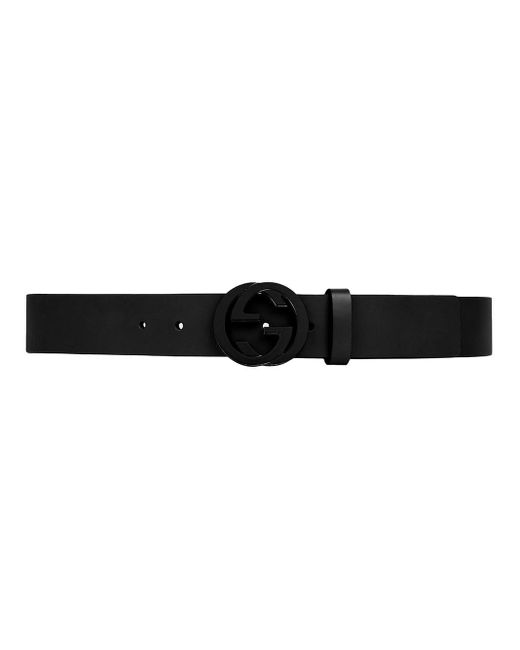 Gucci Black Leather Belt With Interlocking G Buckle for men