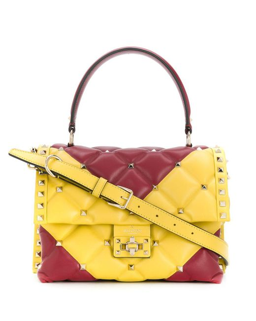 Valentino Garavani Red Two-tone Candystud Tote Bag