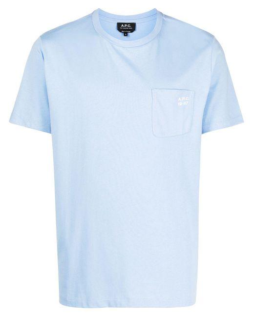 メンズ A.P.C. パッチポケット Tシャツ Blue