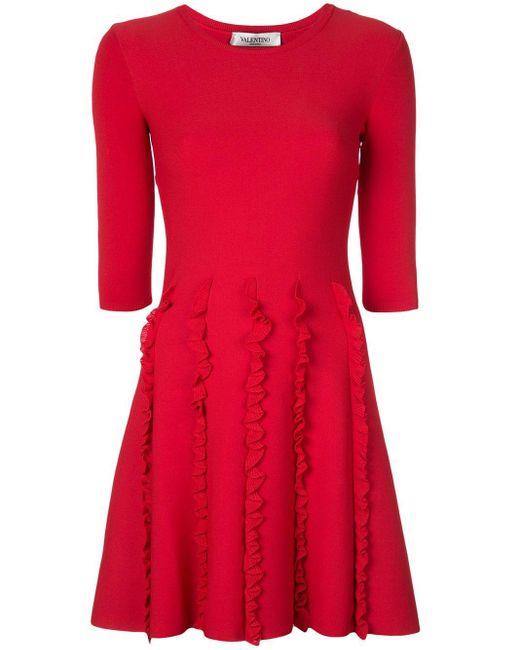 Valentino ラッフル ドレス Red