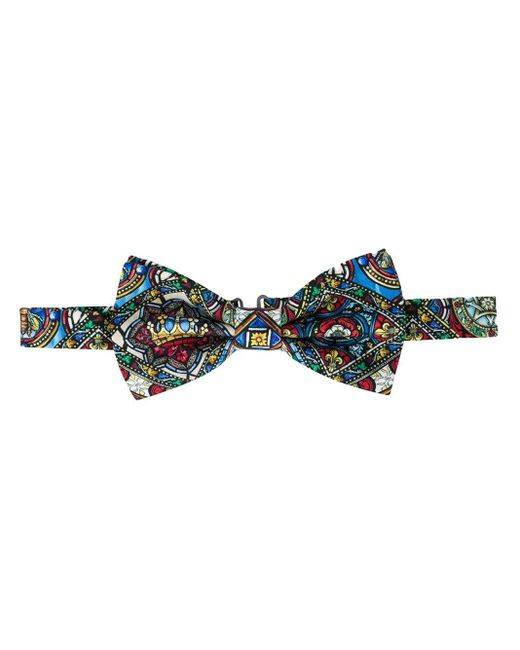 Dolce & Gabbana Blue Stained-glass Window Bow Tie for men