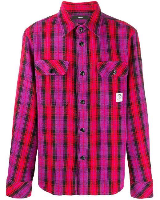 メンズ DIESEL チェック ロングスリーブシャツ Pink