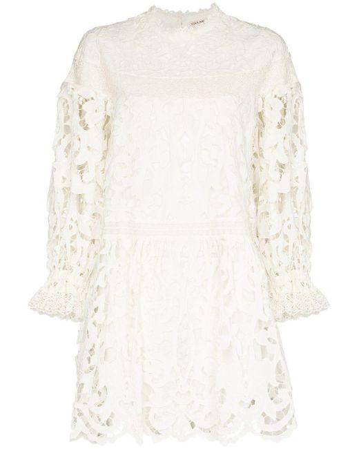 Ulla Johnson White Albertine Floral-lace Minidress