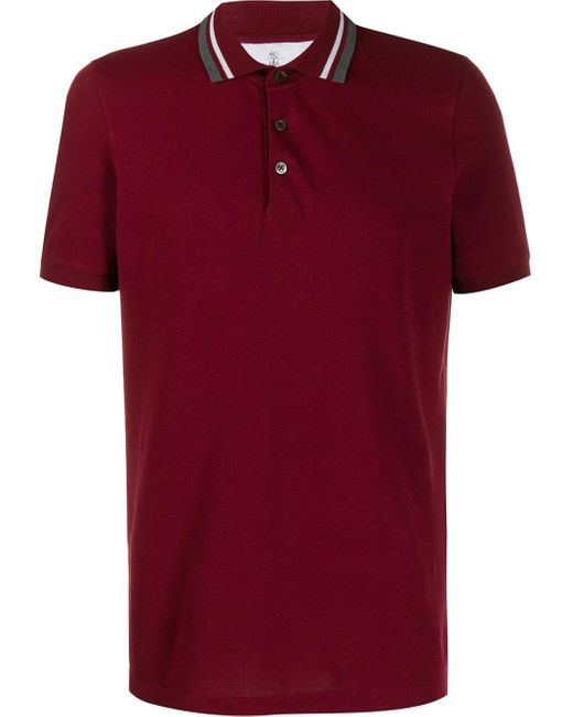 メンズ Brunello Cucinelli ショートスリーブ ポロシャツ Red