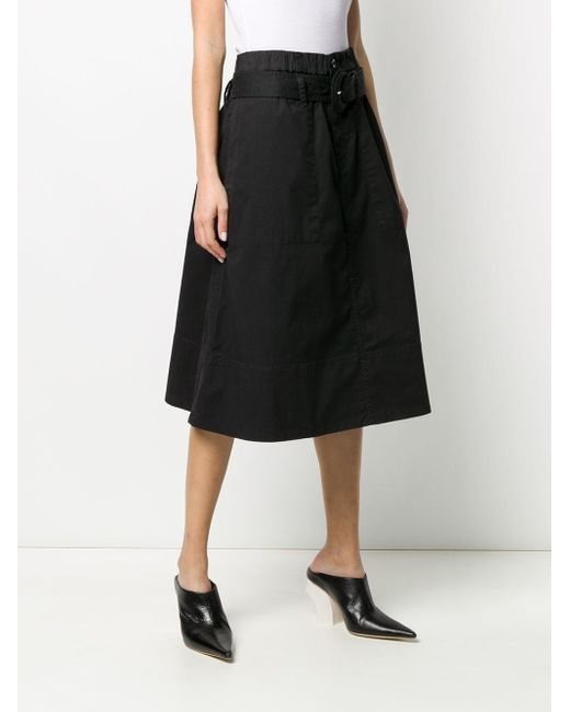 PROENZA SCHOULER WHITE LABEL ベルテッド Aラインスカート Black