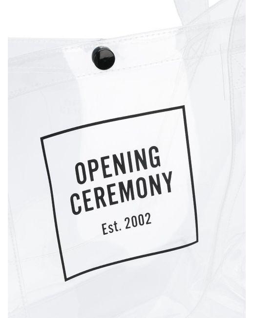 メンズ Opening Ceremony Box ロゴ トートバッグ M White