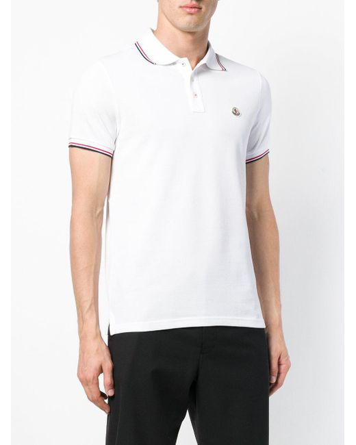 Striped trim polo shirt Moncler pour homme en coloris White